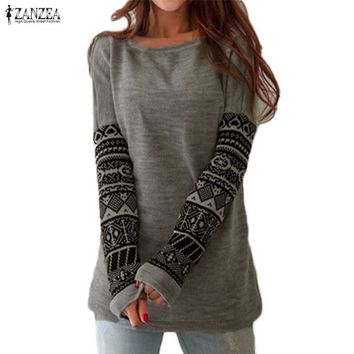 ZANZEA Vintage Women T-shirts Autumn Long Sleeve Print Shirts Patchwork Casual Loose Tee Blusas Laides Work Tops Plus Size