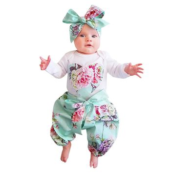 Newborn Toddler Infant Rompers Kids Baby Girl Floral Clothes Jumpsuit Bodysuit +Pants +Bow Headband 3pcs Outfit Set Clothes