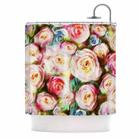"""Dawid Roc """"Pastel Rose Romantic Gifts"""" Green Photography Shower Curtain"""