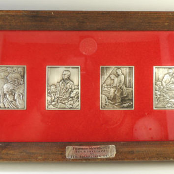 "Hamilton Mint Norman Rockwell ""Four Freedoms"" Framed .999 Fine Silver Bars"