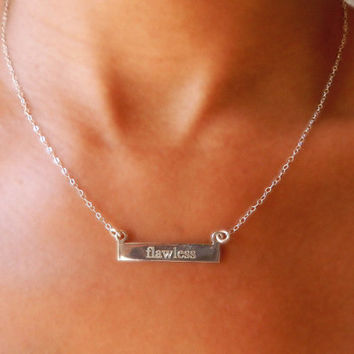 Silver Bar Engrave Necklace, Sterling Silver Nameplate Necklace, Personalize Necklace, Bridesmaid Gift, Layer Necklace, Minimalist Jewelry