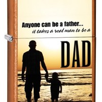 Zippo Pocket Lighter Translucnet Toffee Dad Anyone Can Be Father (Toffee, 3 1/2-Inch x 2 1/4-Inch)