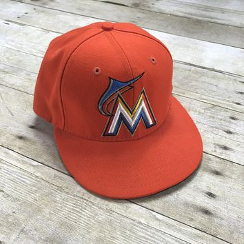 New Era Miami Marlins Orange 59Fifty Fitted Hat Made in USA Mens Size 7