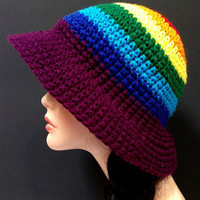 Crochet Rainbow Summer Hat. Autumn Fashion Hat. Spring Fashion Hat