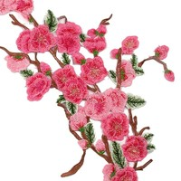 FENGRISE  Blossom  Peach  Roses  Flower  Patches  Embroi