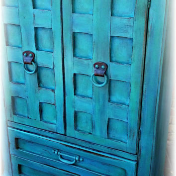Vintage armoire ,  turquoise armoire, children's furniture, wardrobe armoire, Rustic wardrobe armoire, painted armoire, rustic dresser