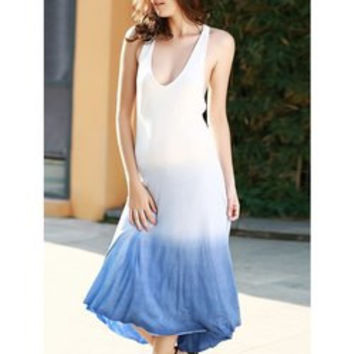 Ombre Open Back Tea Length Dress