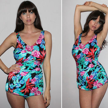 Vintage 80s One Piece Bathing Suit / Bold Floral Swimsuit / Pinup Style, Full Bottom Coverage / V Neck / Jantzen / Tropical / Large, XL