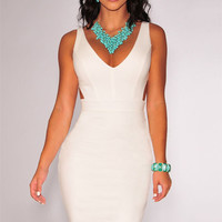 White Deep V-Neck Sleeveless with Cut-Out Back Bodycon Dress