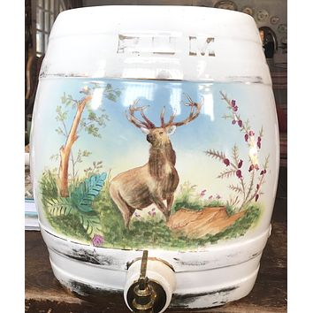 HUGE Antique English Transferware Hand Painted Stag Deer RUM Keg Barrel  Pub / Bar RARE