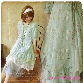 Japanese Mori Girl Cotton Floral Lace Lolita Loose Summer Dress