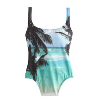J.Crew Womens Palm Tree Scoopback One-Piece Swimsuit
