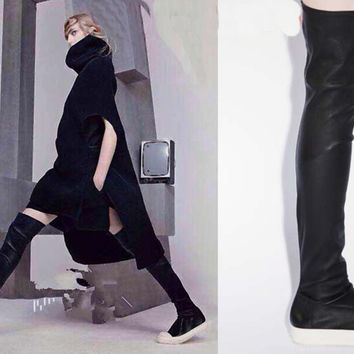 Motorcycle Boots Over Knee High  Boots Flats