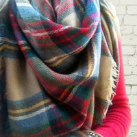 Blanket Scarf SALE Plaid Blanket Scarf Tartan Scarf Oversized Accessories Scarves Plaid Trending Item No FREE GIFT Wrap