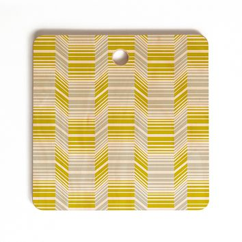 Heather Dutton Delineate Citron Cutting Board Square
