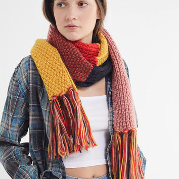Colorblock Knit Scarf   Urban Outfitters
