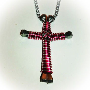 Pink an silver candy cane wire wrapped horseshoe nail cross necklace jewelry