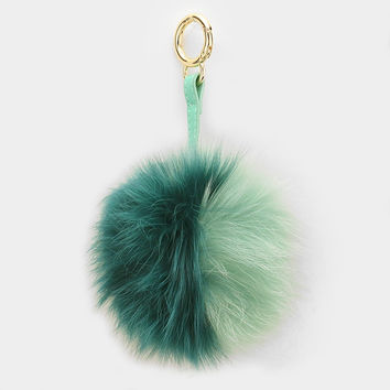 Large Faux Fur Two Tone Pom Pom Keychain, Key Ring Bag Pendant Accessory - Green