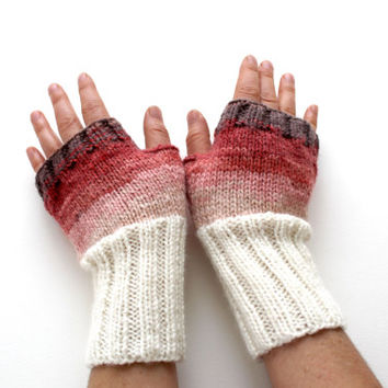 Autumn Trend / Hand knit fingerless glove / Valentines days. Cream brown pink and light red. Winter trends 2014. Winter fashion