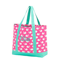 Personalized Hot Pink Whales Collection Weekender Bag/Tote Bag/Preppy