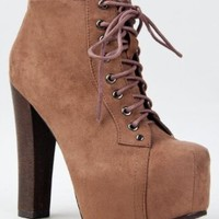 Breckelle's BRITNEY-01 Lace Up Wooden Chunky High Heel Ankel Boot Bootie,Britney-01 Black Su 8