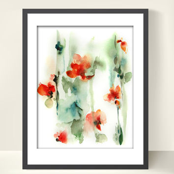 Watercolor Painting Art Print, Abstract Flowers, Red Green, Floral, Abstract Modern Art