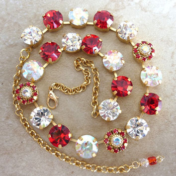 Swarovski crystal necklace, red and clear on gold chain, better than sabika