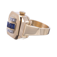 1950s BUCHERER Ring/Watch with Sapphire and Diamond