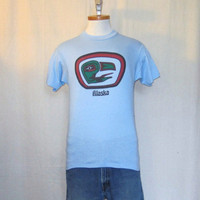 Vintage Deadstock 80s ALASKA TOTEM Pole GRAPHIC Eagle Tribal Native American Soft Unisex Small Hanes 50/50 T-Shirt