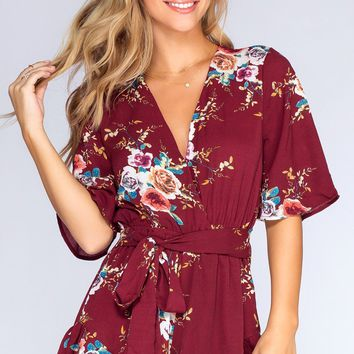 Meadow Moments Romper - Burgundy
