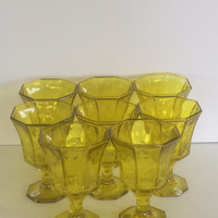 Vintage Goblets Spicy Mustard Independence Glassware Eight Drinking Glasses MCM Tumblers