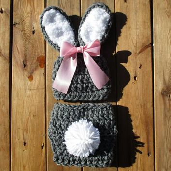 Baby Girl Bunny Outfit Heather Grey Newborn Photography Props