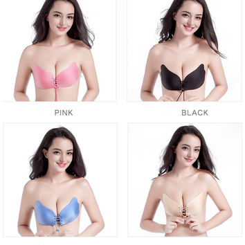 Push Up Bra Front Closure Silicone Strapless Backless