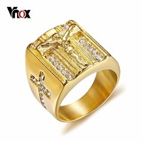 Vnox Punk Jesus Christ Cross Chunky Ring for Men Stainless Steel Crystals Religion Prayer Male Hip-hop Jewelry Gold Color