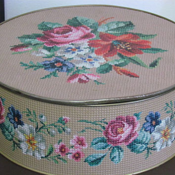Large Vintage Textured Floral Needlepoint Sewing Storage Tin
