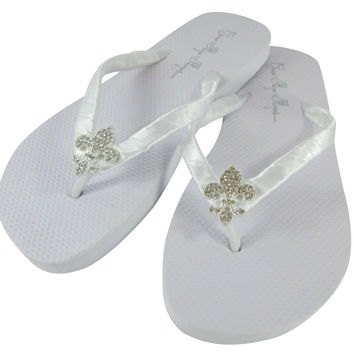 Fleur de Lis Ladies & Girls White Flat Flip Flops, Rhinestone Bridal and Bridesmaid Sandals