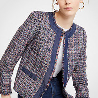 Tweed Chambray Trim Open Jacket | Ann Taylor
