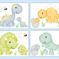 Dinosaur Nursery Decor Wall Art Prints Baby Boy Dino Room [1045] - $20.00 : DeCamp Studios, The best selection of nursery wall murals, childrens wallpaper border, teen girl or boy wall art decals, baby premade scrapbook pages, and digital printable clip ar