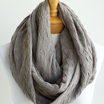 Light taupe jersey infinity scarf, brow eternity scarf, lightweight scarf, taupe infinity scarf, loop scarf, infinity circle scarf