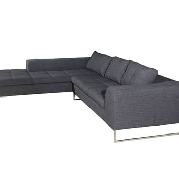 Sulla Sectional Left Charcoal Fabric and Polished Stainless Steel