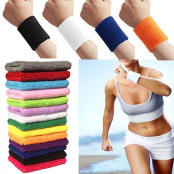 12 Colors Unisex Sportline Cotton Wrist Sweat Bands Terry Cloth Sweatbands Soft