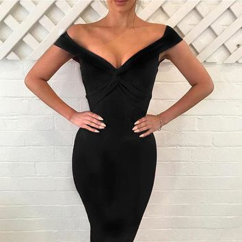 Glam Gloria Off-the-Shoulder Cocktail Dress