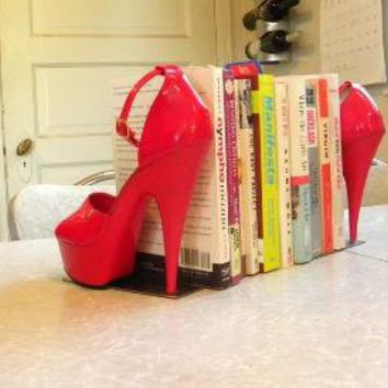 cherry red reclaimed stiletto bookends by giddyspinster on Etsy