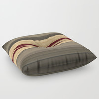 Rich Gold Burgundy Stripes Floor Pillow by Sheila Wenzel