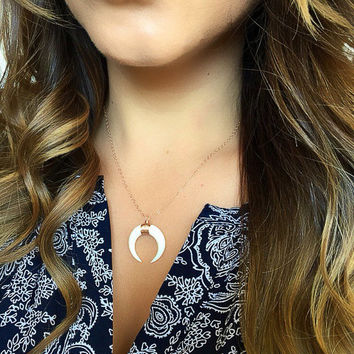 Double Horn Necklace, NEW SIZE Bone Crescent Moon Pendant, Bone Tusk Necklace