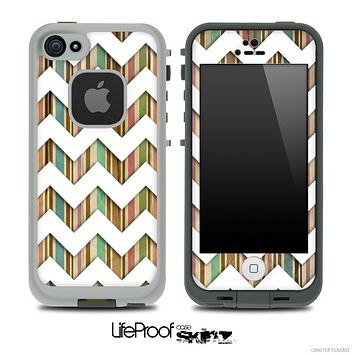 Vintage Color Striped and White Chevron Pattern Skin for the iPhone 5 or 4/4s LifeProof Case