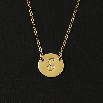 Initial Necklace Gold Disc Necklace Personalized Jewelry. Monogramed Initial Charm.1/2'' Disc 14k Gold. Celebrity Inspired Jewelry. New Mom.