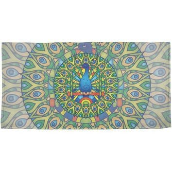 DCCKJY1 Mandala Trippy Stained Glass Peacock All Over Beach Towel