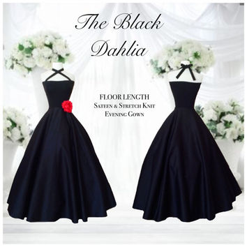 Floor Length Black DAHLIA Square Cut Halter Dress, 1950s Style Sleeveless Rockabilly Wedding, Semi Formal Knit SATEEN Evening Gown