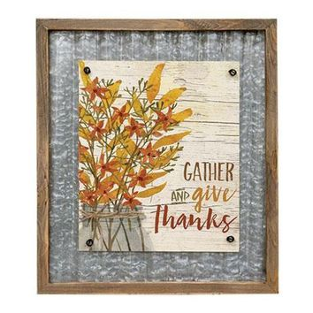 Gather and Give Thanks Sign